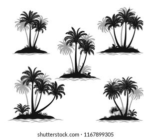 Set Exotic Landscapes, Sea Islands with Palm Trees, Tropical Plants and Grass Black Silhouettes Isolated on White Background.