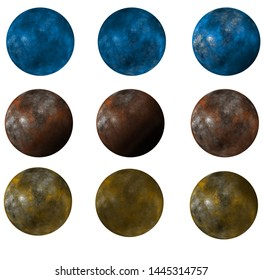 A set of extraterrestrial planets in several colors isolated on white background. Blue Yellow and brown. Digital artwork