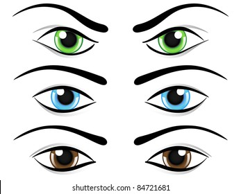 Set of eyes in different colors and mood. Raster illustration.