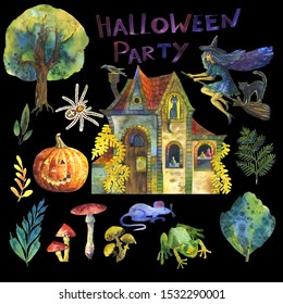 Set of fabulous illustrations for the holiday of Halloween.Tree, flying witch at night, black cats, plants, fly agarics,frog, mouse, stone house, spider ,potion, pumpkin.Suitable for invitations,books