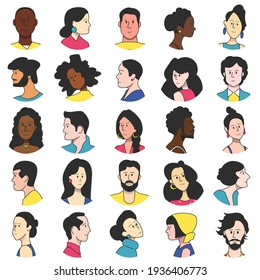 Set of faces of people of different races. Portraits for the avatar.