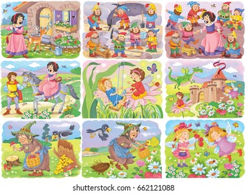 Set of fairy tale illustrations. Coloring book. Coloring page. Snow White and the seven dwarfs, prince, princess, fairies, witch and dragon. Cute and funny cartoon characters