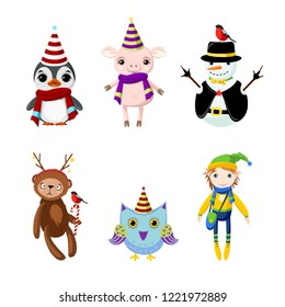 Set fairytale Christmas characters: penguin, pig, snowman, bear, owl, elf. Characters in festive costumes.