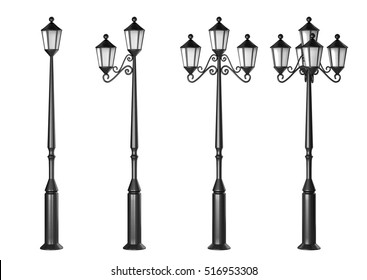 Set of fantasy streetlights isolated on white background. 3D rendering.