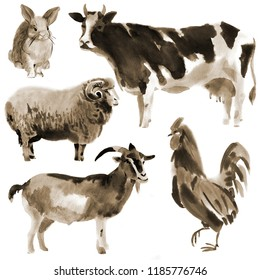 Set of farm animals. Watercolor illustration in white background. Sepia