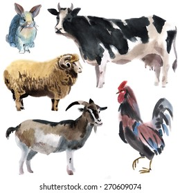Set of farm animals. Watercolor illustration in white background.