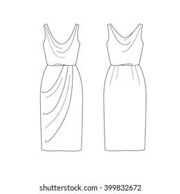 Set Of Fashion Flat Template Sketch