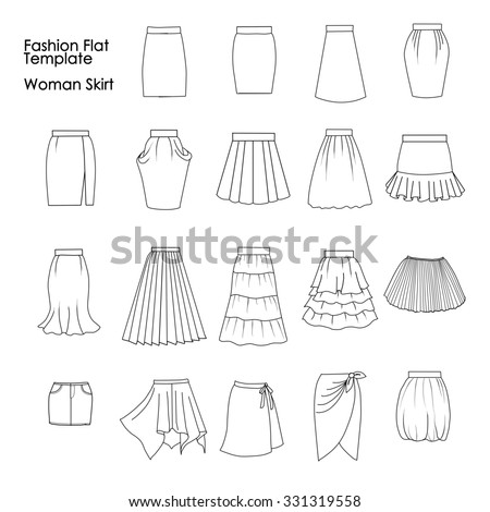 Set Fashion Flat Templates Sketches Woman Stock Illustration