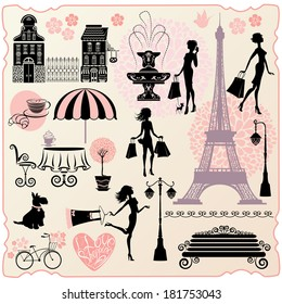 Set for fashion or retail design - Effel Tower, houses, heart with calligraphic text I Love Shopping, girls silhouettes with shopping bags. Raster version