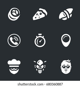 Set of Fast Food delivery Icons.