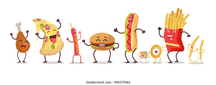 Set of fast food products for restaurants menu illustrating, diet concepts. Smiling and dancing pizza, hot dog, chicken thigh, hamburger, french fries, onion ring, sugar cartoon s in flat design