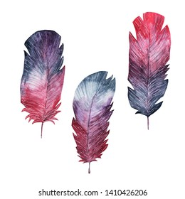 Set of feathers. Gray, blue, purple colors. Isolated clipart. Watercolor, mixed media
