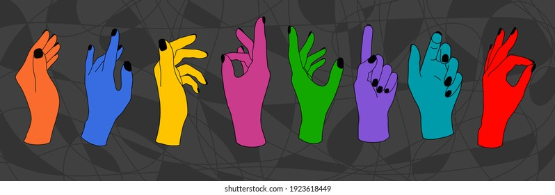Set of female hands in various gestures, color pattern. Collage of contemporary art.