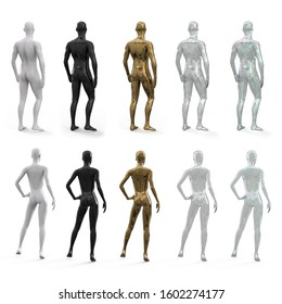 Set of female and male mannequins in metallic gold, transparent, glass, white and black colors. Back view. 3d realistic illustration isolated on white background.
