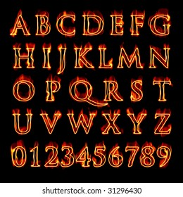 A set of fiery flaming letters and numbers isolated over black.