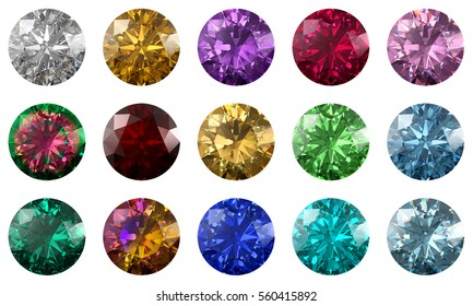 Set of fifteen multi-colored classic round brilliant cut gems, top view isolated on white background. 3D rendering illustration