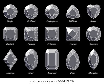 Set of fifteen various diamond cut shape and design diagrams with their names.  Top view, white wireframe and dark-gray highlighted glossy facets, isolated on black background.  3d computer-generated