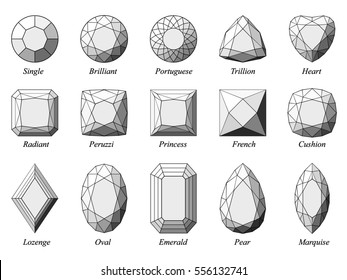 Set of fifteen various diamond cut shape and design diagrams with their names.  Top view, black wireframe and gray highlighted facets, isolated on white background.  3d computer-generated image