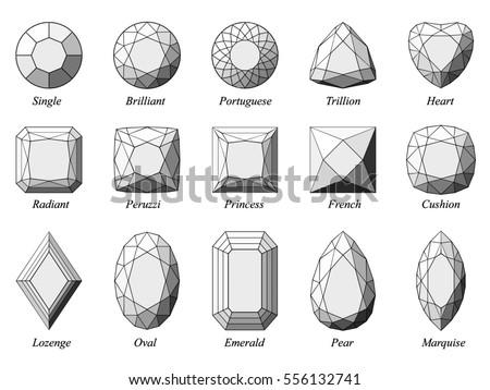 Set Fifteen Various Diamond Cut Shape Stock Illustration 556132741