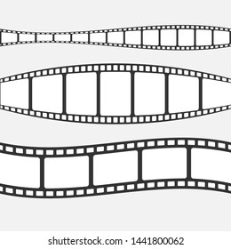 Set of  film strip isolated on transparent background.