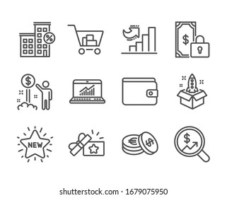 Set of Finance icons, such as Private payment, Online statistics, Income money, Loan house, Startup, Loyalty gift, Growth chart, Money wallet, Savings, Internet shopping, New star.