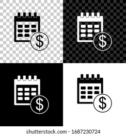 Set Financial calendar icon isolated on black, white and transparent background. Annual payment day, monthly budget planning, fixed period concept, loan duration