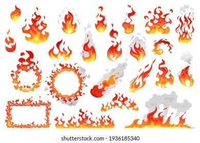 Set of fire flames, fireballs and burning bonfire