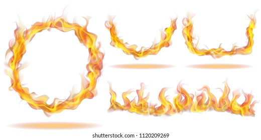 Set of fire flames in the form of ring, arc and wave on white background