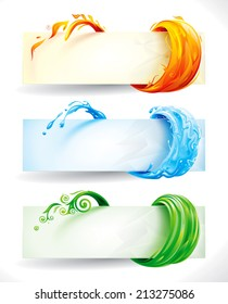 Set of fire, water and green elements banner background. Raster.