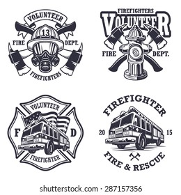 Set of firefighter emblems, labels, badges and logos on light background. Monochrome style.