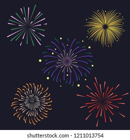 Set of Firework brusting with colorful sparkling illustration