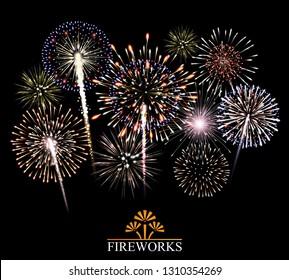 Set of fireworks, festive banner, invitation to a holiday. Illustration
