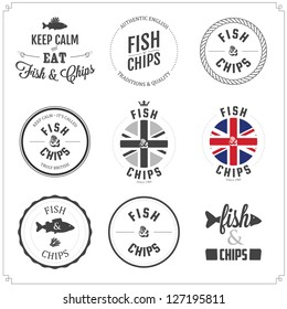 Set of Fish and Chips labels and badges isolated on white background