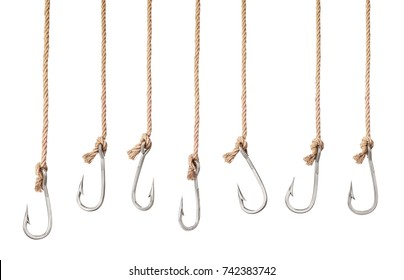 Set of fishing hooks on the ropes isolated on a white background. 3d illustration