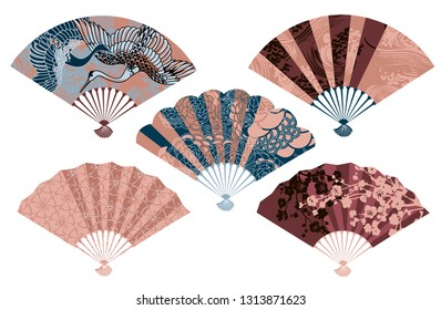 Set of five Japanese fans with different images artwork for fabrics, souvenirs, packaging, greeting cards and scrapbooking