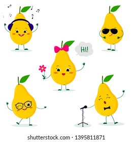 A set of five Kawaii cute yellow pear fruit in a cartoon style. In headphones, in sunglasses, dancing in glasses , with a flower, singing into the microphone. Flat, illustration.