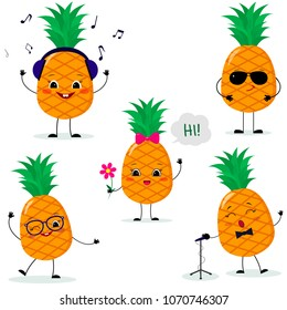 A set of five Pineapple Smiley in a cartoon style. In headphones, in sunglasses,dancing in glasses , with a flower, singing into the microphone. Flat, .