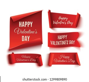 Set of five red, Happy Valentines day, realistic, paper banners. 3D illustration.