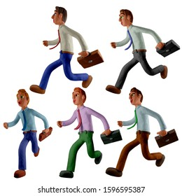 Set, five young businessmen. Office worker in shirt, tie and briefcase running.  Handmade with plasticine or clay. Isolated on white background – Illustration 3D