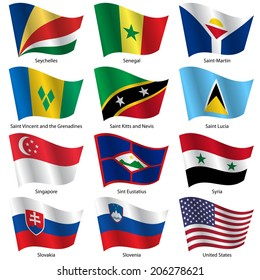 Set  Flags of world sovereign states.  illustration. Set number 14. Exact colors. Easy changes.