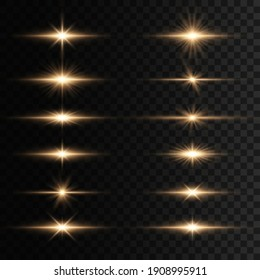 Set of flashes, Lights and Sparkles on a transparent background. Bright gold flashes and glares. Abstract golden lights isolated  Bright rays of light. Glowing lines.