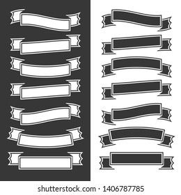 Set of flat  black and white ribbons and banners on white and black background. Simple flat  illustration. With place for text. Suitable for infographics, design, advertising, festivals.