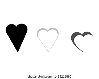 Set of flat design of isolated hearts. Pixel art illustration representing love. Special for romantic celebration as Valentine's day, wedding or anniversary.