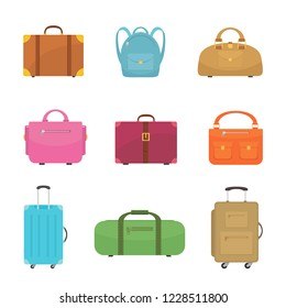 Set of flat icons of colorful bags isolated on white background, illustration.