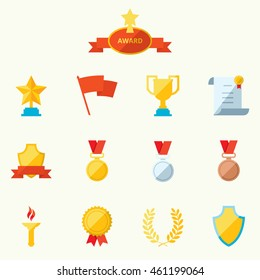 Set of flat icons sports awards achievements and trophy