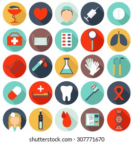 Set of flat medical icons. Collection of isolated icons on a white background
