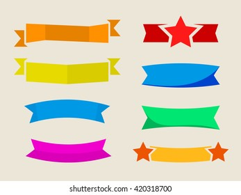 set of flat ribbons, stickers without label