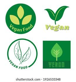 Set flat vegan icon on white background. Bio, Ecology, Organic logos and badges.