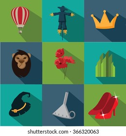Set of Flat Wizard of Oz icons.