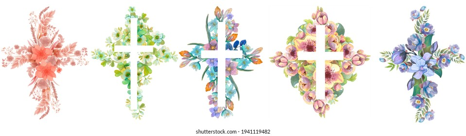 Set of floral crosses. Easter border, christian banner. Watercolor hand drawn Easter cards, for Christian prints, religious publications.
